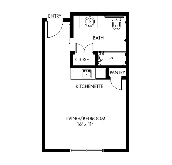 Highpoint at Cape Coral Assisted Living Studio detail floor plan.