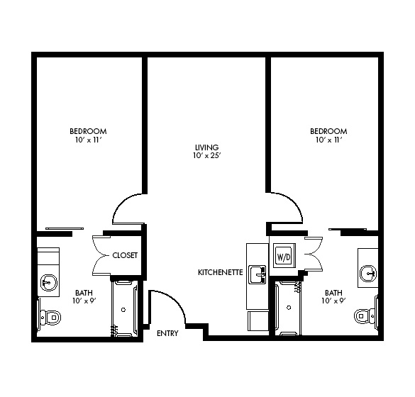 Highpoint at Cape Coral Assisted Living two bedroom detail floor plan.