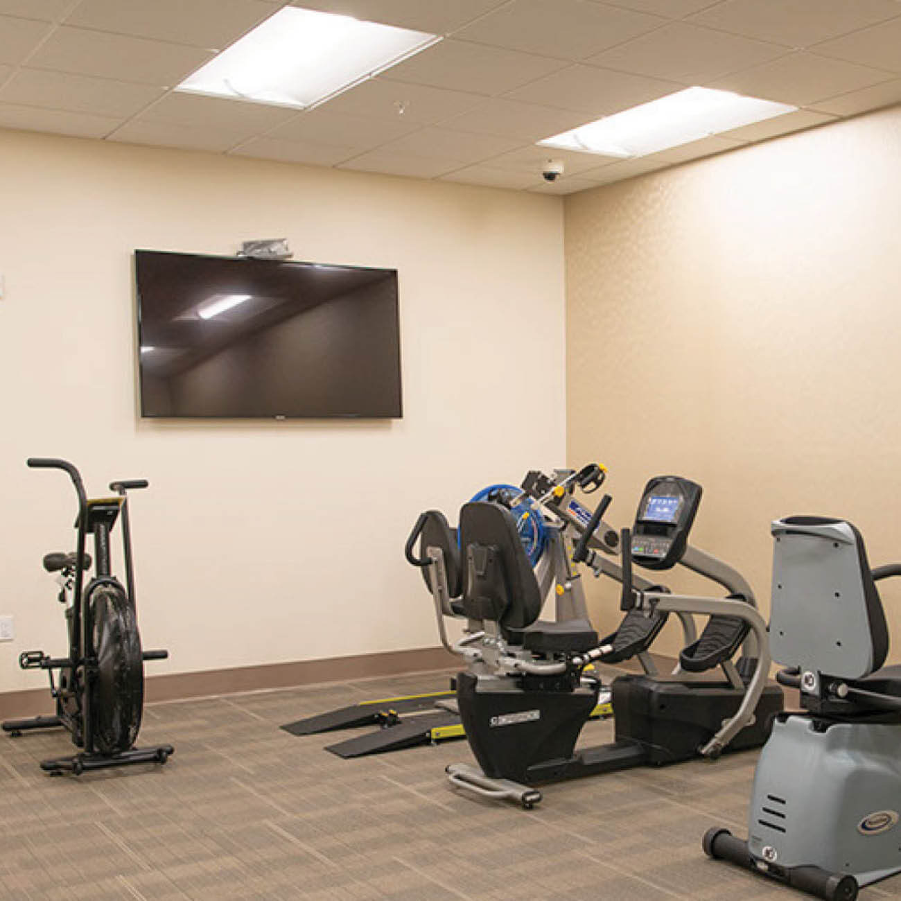 Workout room with large TV and multiple fitness machines, including treadmill, stationary bike among others.